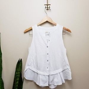 Meadow Rue Tops - Anthro Meadow Rue white sleeveless top ruffle